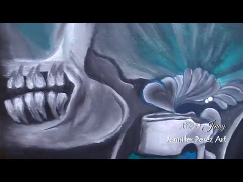 Skull Acrylic Painting || Surrealism || Artist 100Days ☆ Jennifer Perez Art ★∞ ॐ)