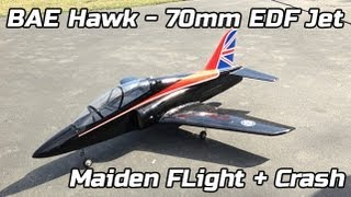 70mm BAE Hawk - Maiden Flight and crash