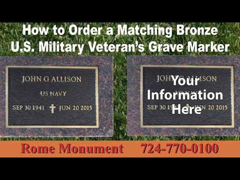 Order A Matching Bronze Military Veterans Grave Marker