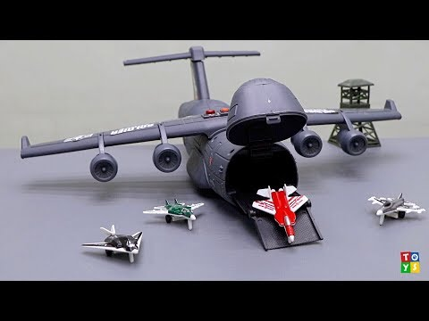 C5 Galaxy Big Plane Transports Jet Fighter Planes | Toy Unboxing and Play