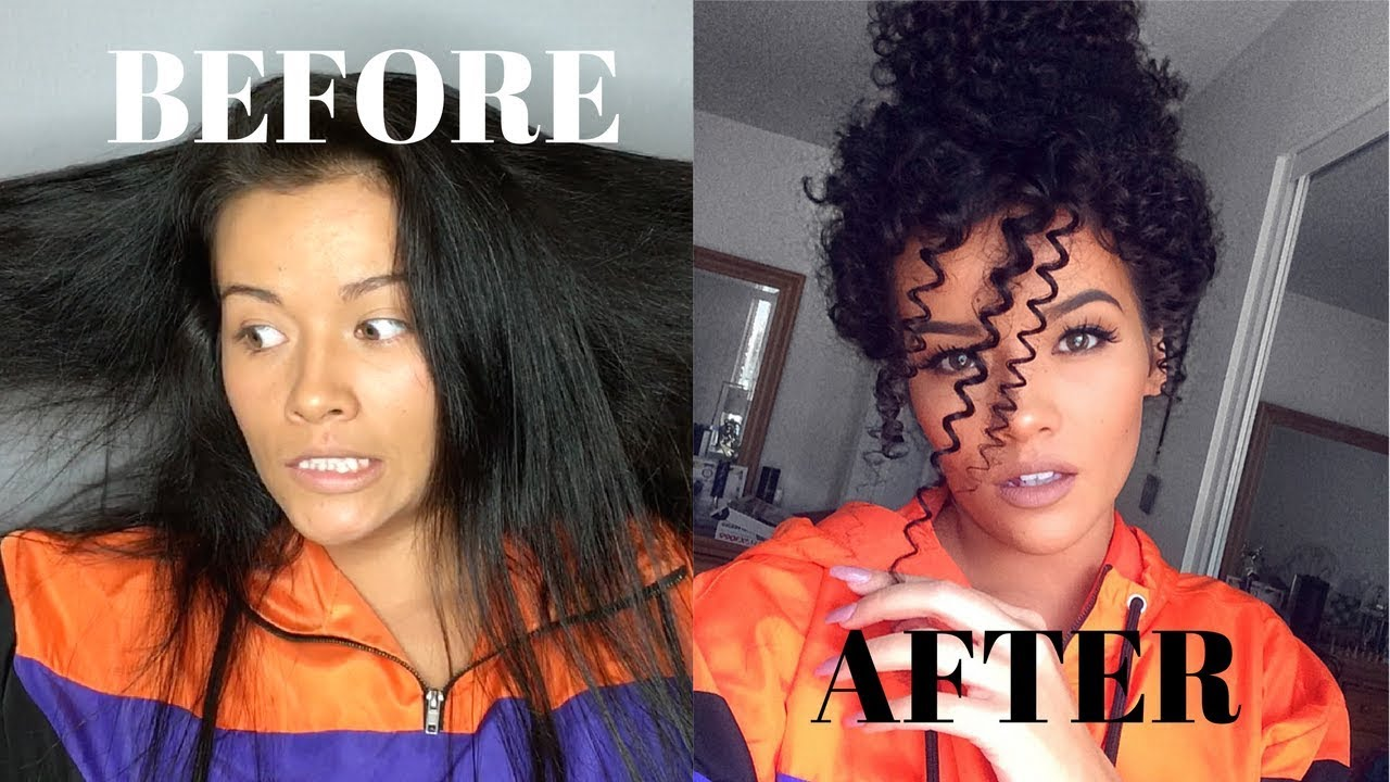 Heatless Straight to Curly Hair Tutorial  Straw Curls  YouTube