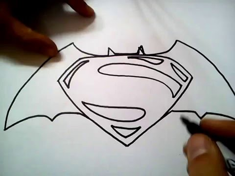 como dibujar el logo de batman vs superman / how to draw batman vs ...