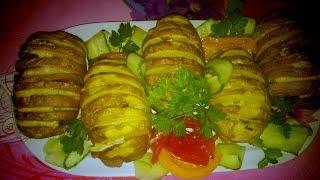 Запечённая картошка с грибами, салом, сыром(картошка-гармошка)