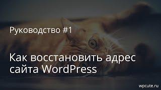 Руководство #1: Как восстановить адрес сайта WordPress