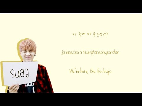BTS - 흥탄소년단 (fun boys)  {Color coded lyrics Han|Rom|Eng}