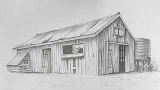 How to Draw an Old Farm Shack 2 - perspective, texturing and shading