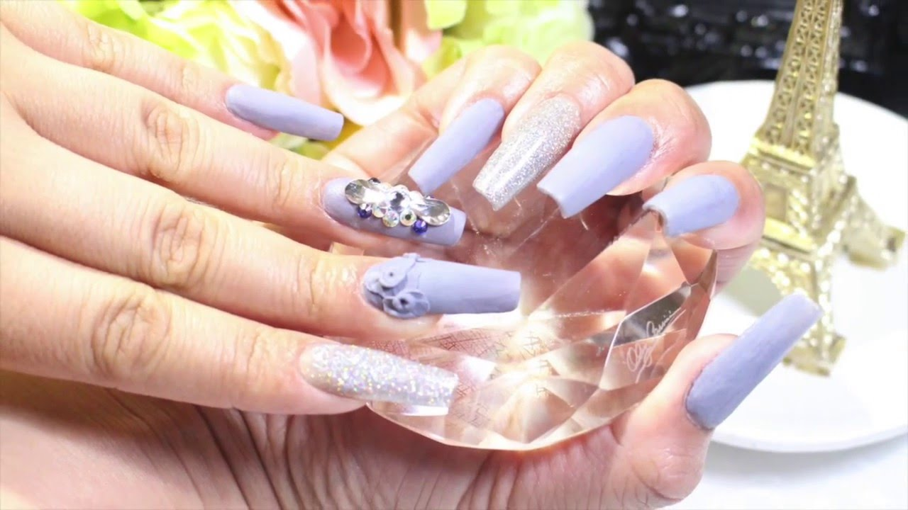 How To Make Gray Lilac Acrylic Nails With Glitter