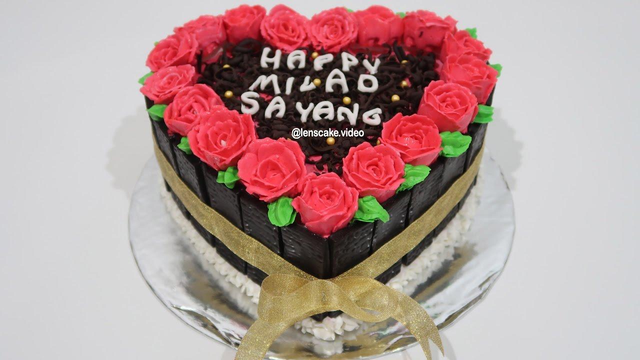 How to Make Birthday Cake Heart Love Easy Cara Membuat Kue Ulang