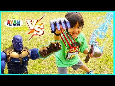 Ryan vs Thanos Marvel Avengers Infinity War Superhero Toys!!!