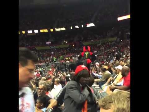 Atlanta Hawks Mascot Falls On Railing   NBA Funny Moment