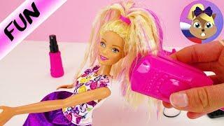 ДЕЛАЕМ ПРИЧЕСКИ ДЛЯ БАРБИ   Укладка для кукол плойкой гофре  Crimp & Curl Barbie