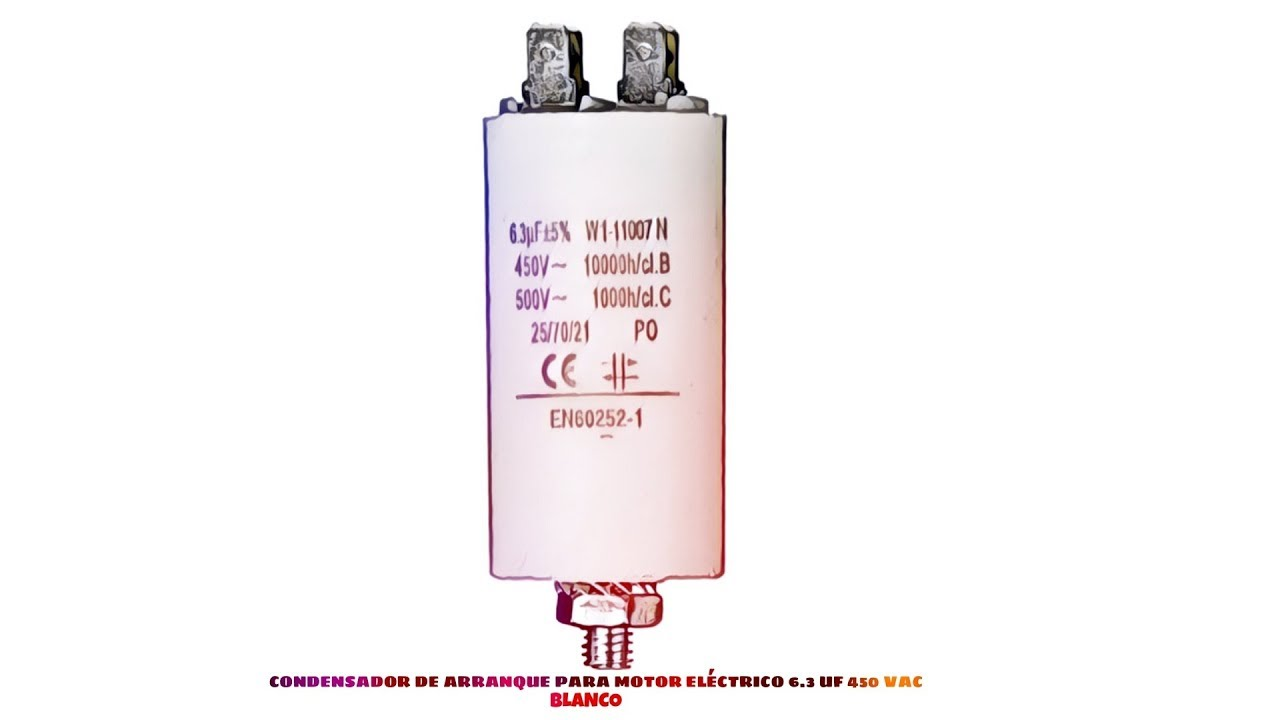 medium resolution of condensador de arranque para motor electrico 6 3 uf 450 vac blanco distribuido por cablepelado