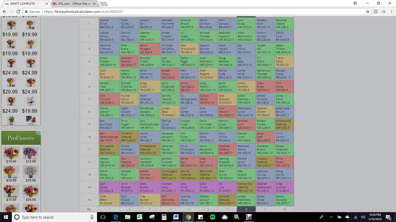 2018 Fantasy Football Mock Draft Ff Calculator 5 10 2018 Youtube