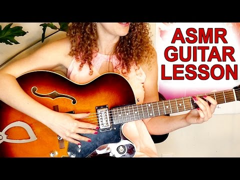 ASMR Whispering Role Play: Beginner Guitar Lesson, Jazz Chords for Relaxation, Binaural Whisper
