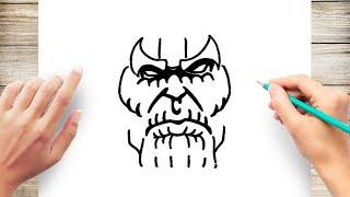 How to Draw Thanos Face