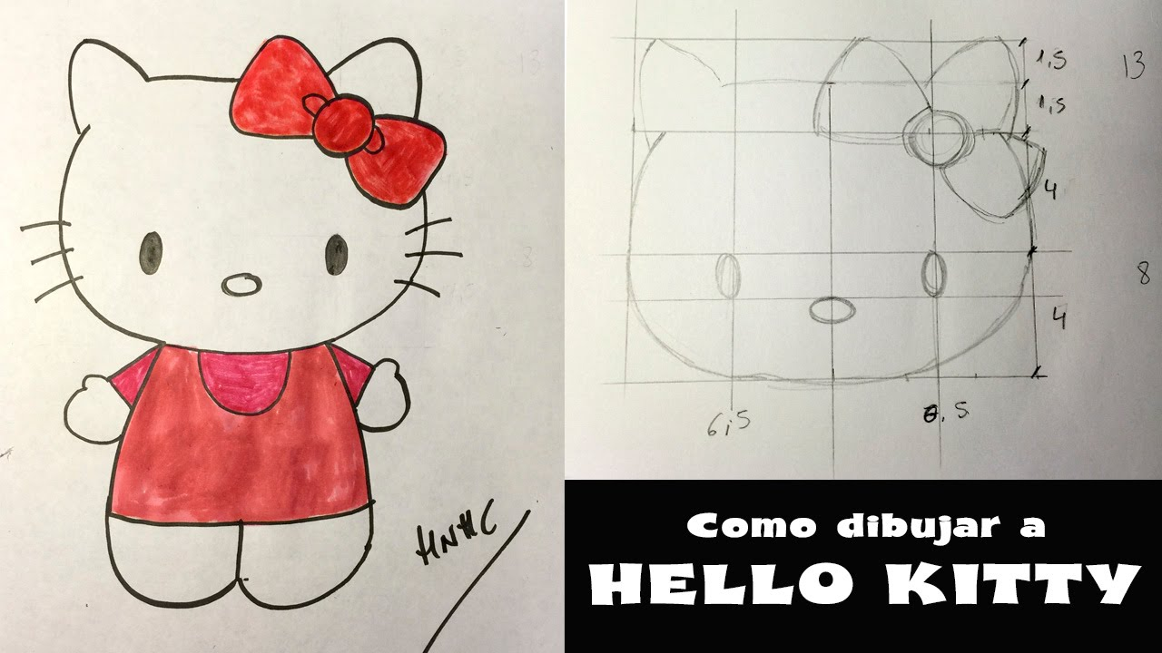 Cómo Aprender A Dibujar Dibujos Animados Paso A Paso: Cómo Dibujar A Hello Kitty- Dibujo Paso A Paso.