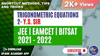 TRICKS FOR SOLVING TRIGONOMETRIC EQUATIONS|PART-2|JEE Mains|EAMCET|NDA and other Competitive Exams