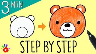 How to Draw a Bear Face   Easy & Slow Step by Step for Kids   Drawing a Cute Baby Bear   OKIDOKIDS