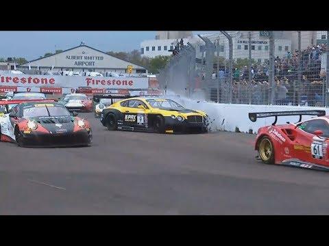 Pirelli World Challenge (GT/GTA/GT Cup) 2018. Race 1 Streets of St. Petersburg. Start Crash