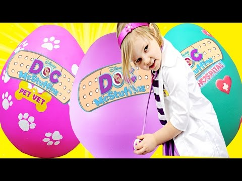3 GIANT DOC MCSTUFFINS EGGS - World's Biggest Egg opening, Pet Vet, Hospital, 30+ minutes Best