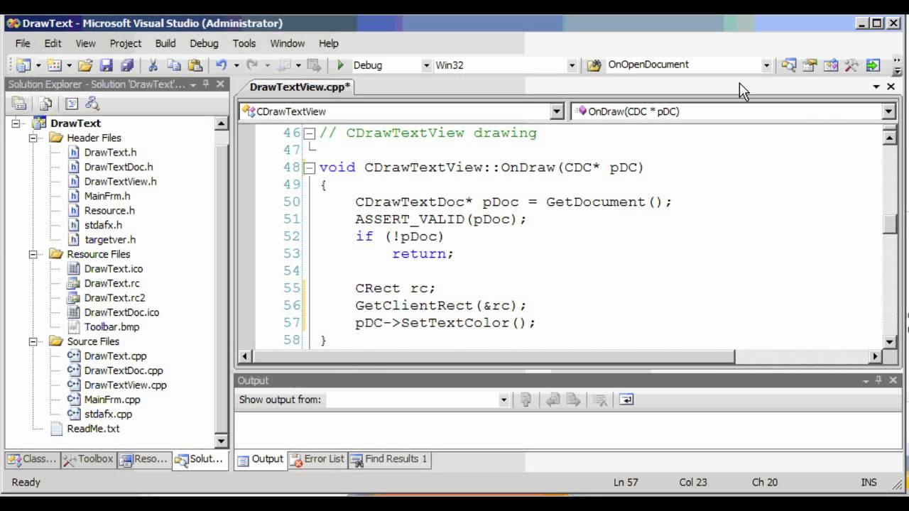 DrawText Visual C++
