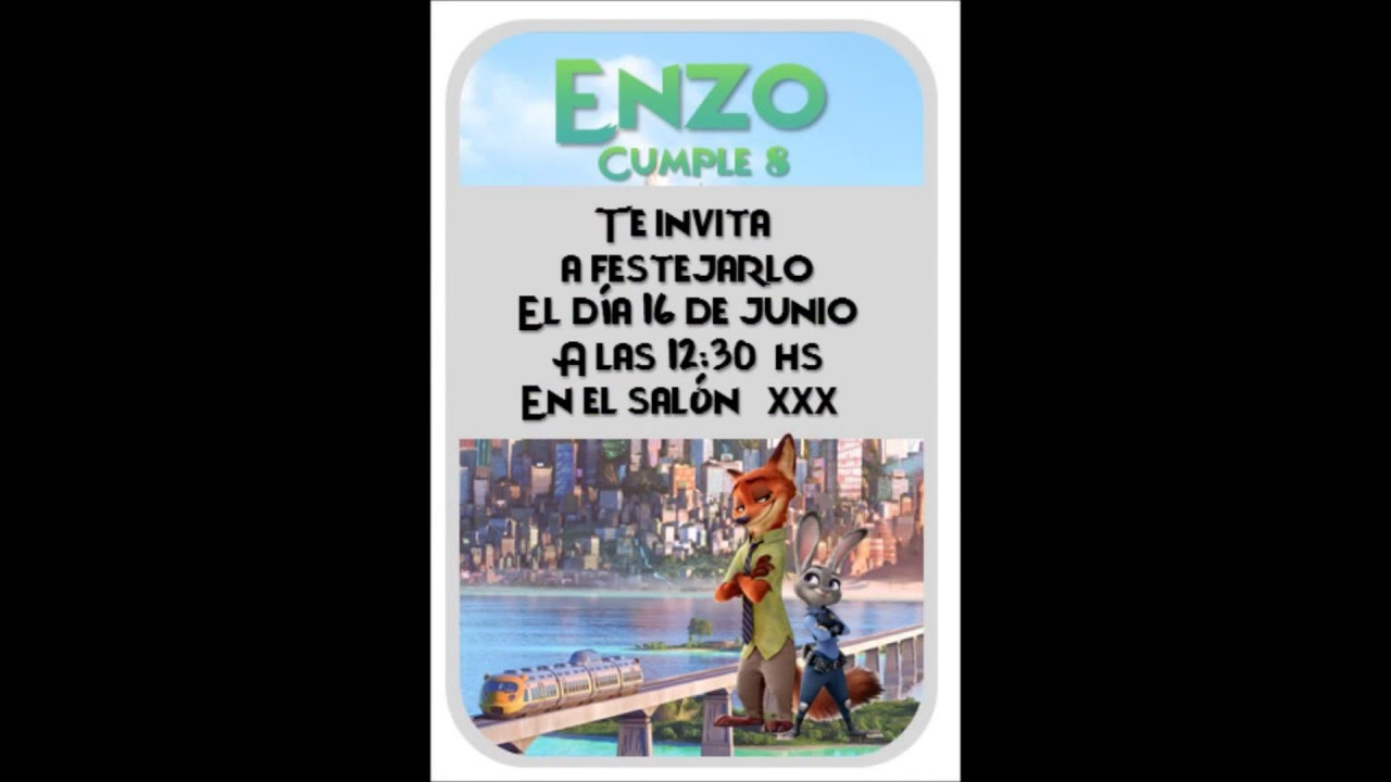 Invitacion De Zootopia Gratis 100 Editable En Powerpoint Youtube