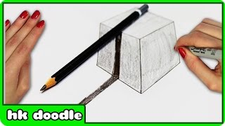 How To Draw A CUBE In 3D - Step by Step Drawing Tutorial by HooplaKidz Doodle