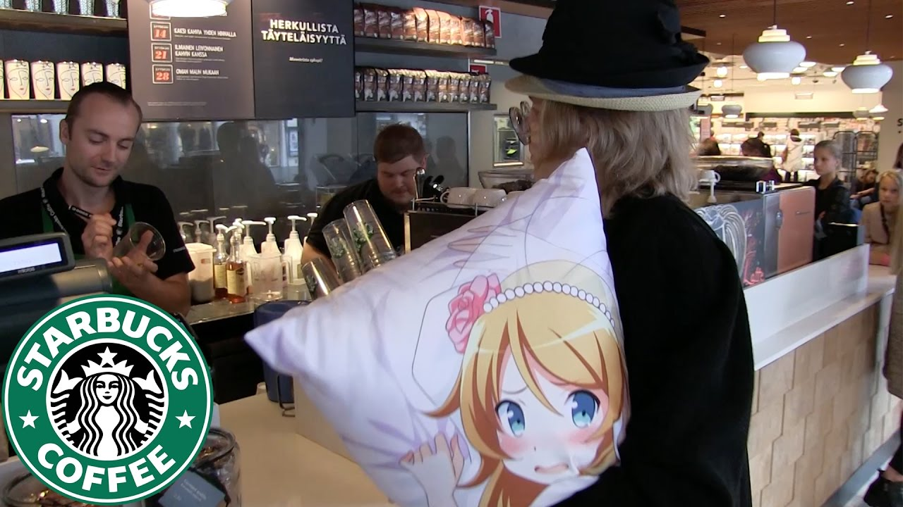 Weeaboo orders coffee from Starbucks with his body pillow