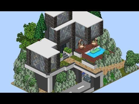 Habbo casa moderna con piscina desbordante youtube for Casa moderna habbo