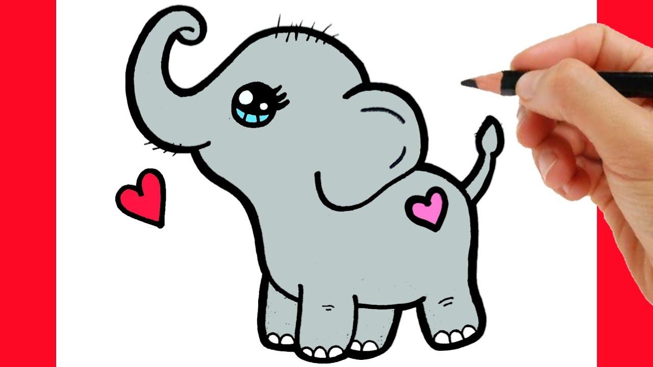 HOW TO DRAW A CUTE ELEPHANT - KAWAII DRAWINGS - YouTube