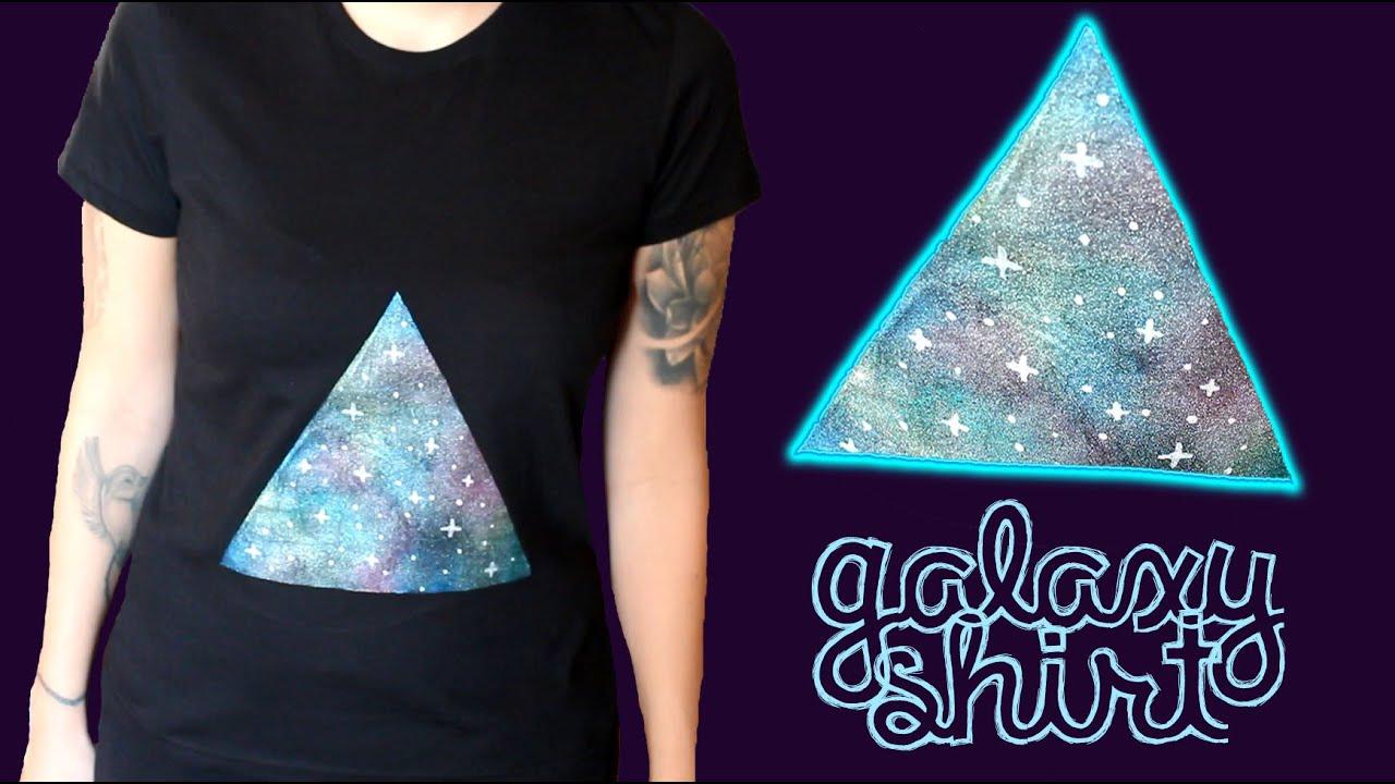 Design t shirt galaxy - Galaxy Shirt Diy Upcycling Refashioning Textildesign T Shirt Im Galaxie Design Youtube