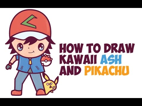 How to Draw Ash Ketchum and Pikachu Pokemon (Cute Chibi Kawaii) Easy Step by Step Drawing for Kids