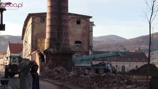 Rozbiórka komina w Bielawie