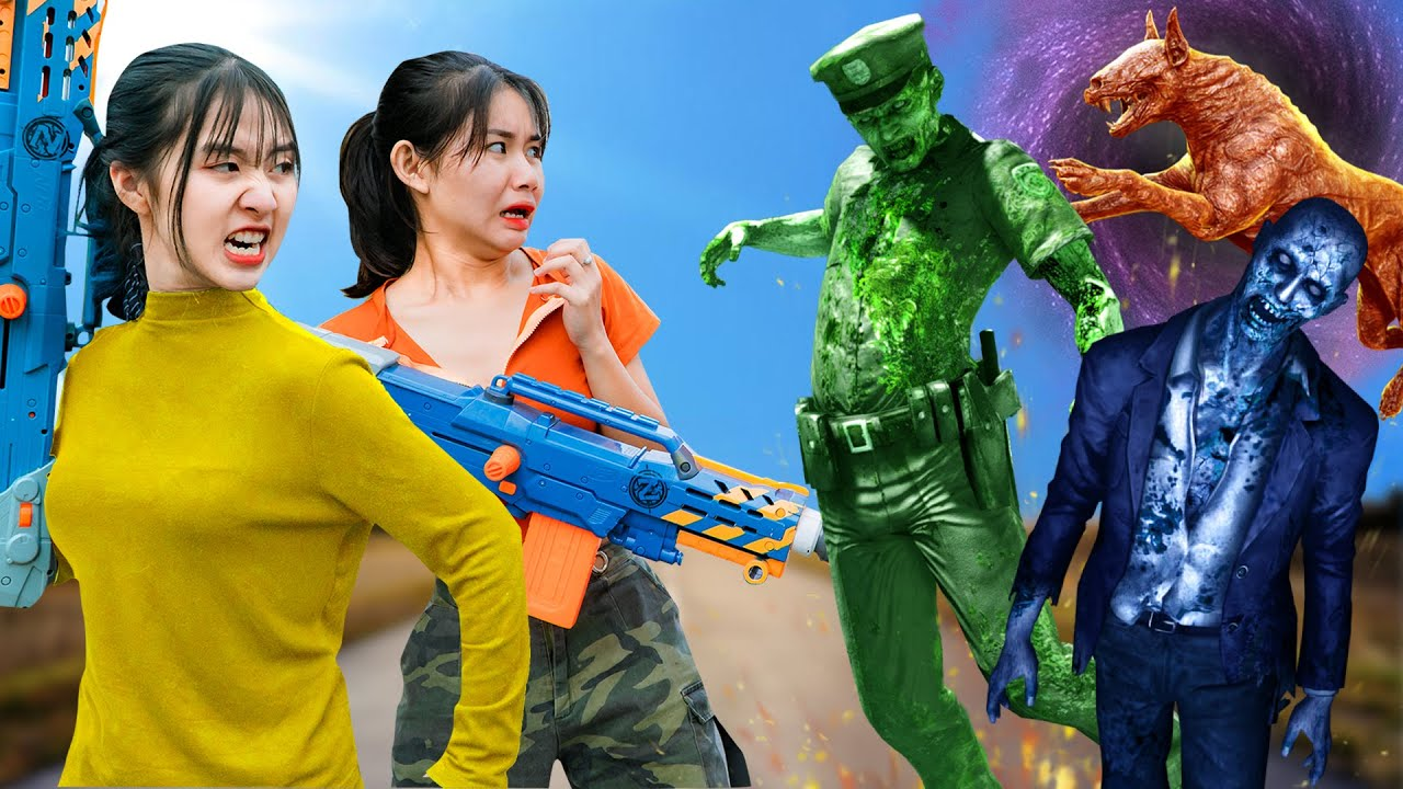 Xgirl Nerf War: Cherry Destroy Zombies attack the Village | Warriors Nerf Guns Zombies Season 4