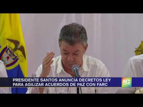 Presidente Santos anuncia decretos ley para agilizar acuerdos de paz con Farc