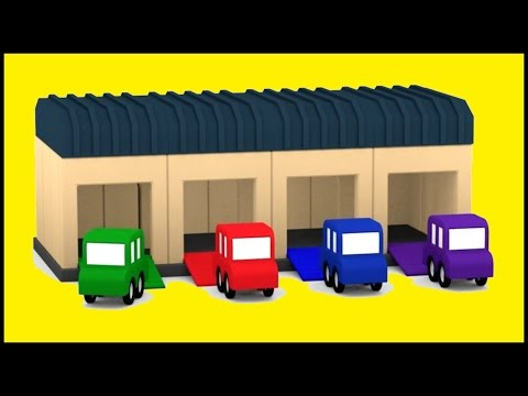 Kid's Cartoon Cars HQ - GARAGE Construction Demo - Shapes & Colors with Excavator & Crane!