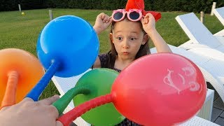 Learn Colors with Surprise Balloons, Finger Family Song and Öykü - Fun Kid Video