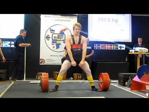 Erik Gunhamn 350kg deadlift (93kg)