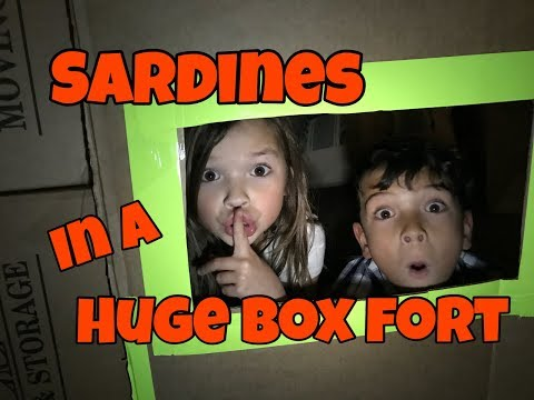 SARDINES in a HUGE BOX FORT - Glow in the Dark!