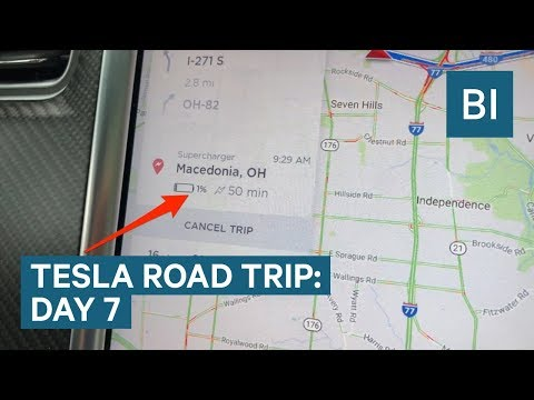 Driving with 1% battery on DAY 7 OF THE TESLA ROAD TRIP