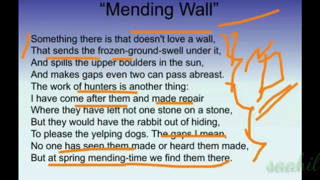 critical appreciation of mending wall by robert frost