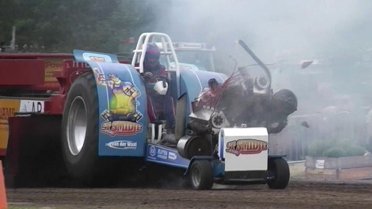 Tractor Pulling Accidents : Tractor pulling crash motor explosion of t smidje