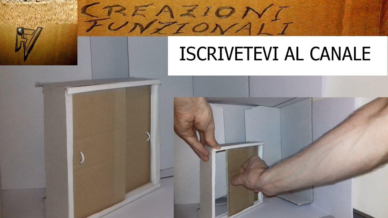 Mobile Ante Scorrevoli Fai Da Te.Fai Da Te Armadietto Di Cartone Con Ante Scorrevoli Youtube