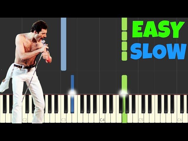 Bohemian Rhapsody - Queen [SLOW Easy Piano Tutorial] (Synthesia/Sheet Music)
