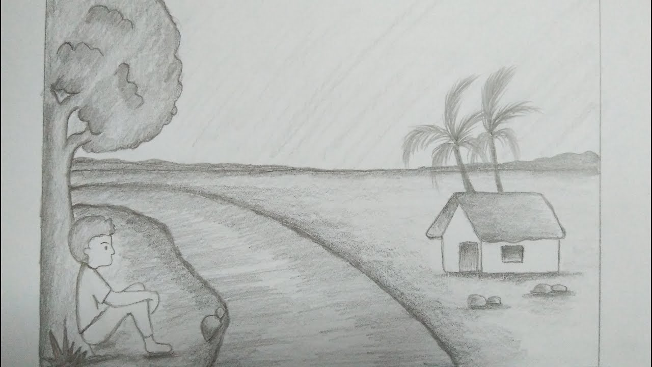 How To Draw Scenery With Pencil Step By Step Youtube