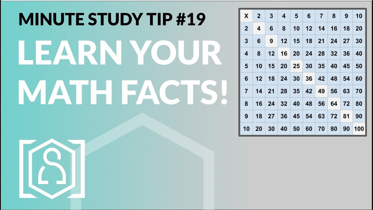 Learn Your Math Facts - Minute Study Tip #19