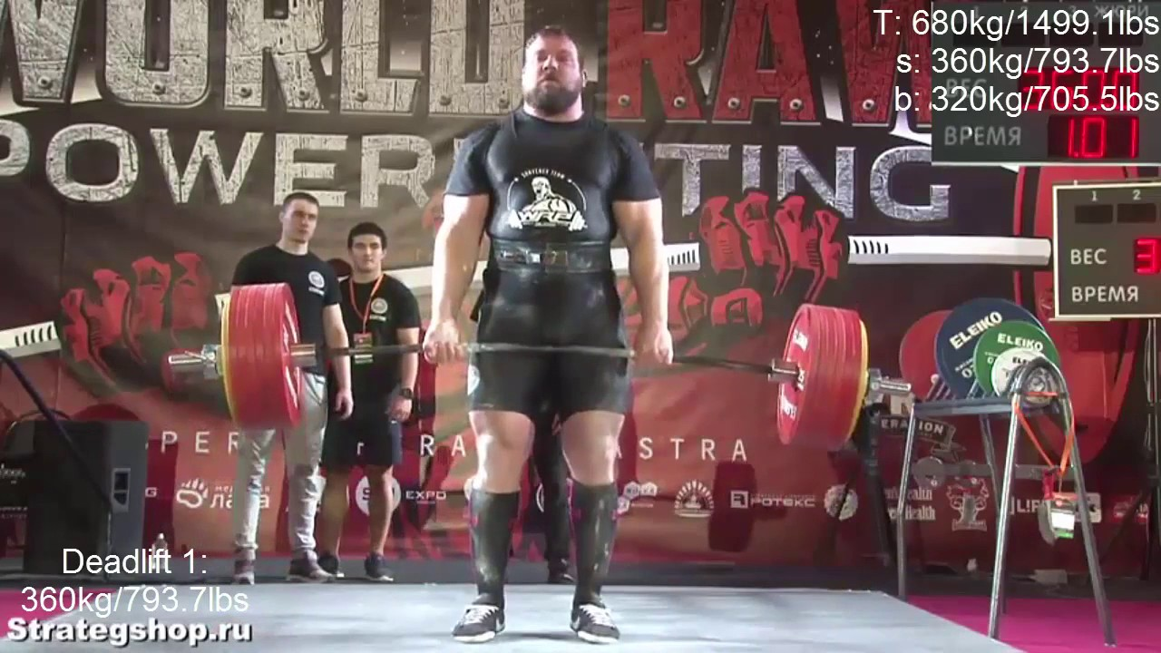 Kirill Sarychev   Кирилл Сарычев 1082 5kg 2386 5lbs total RAW ALL TIME WORLD REC