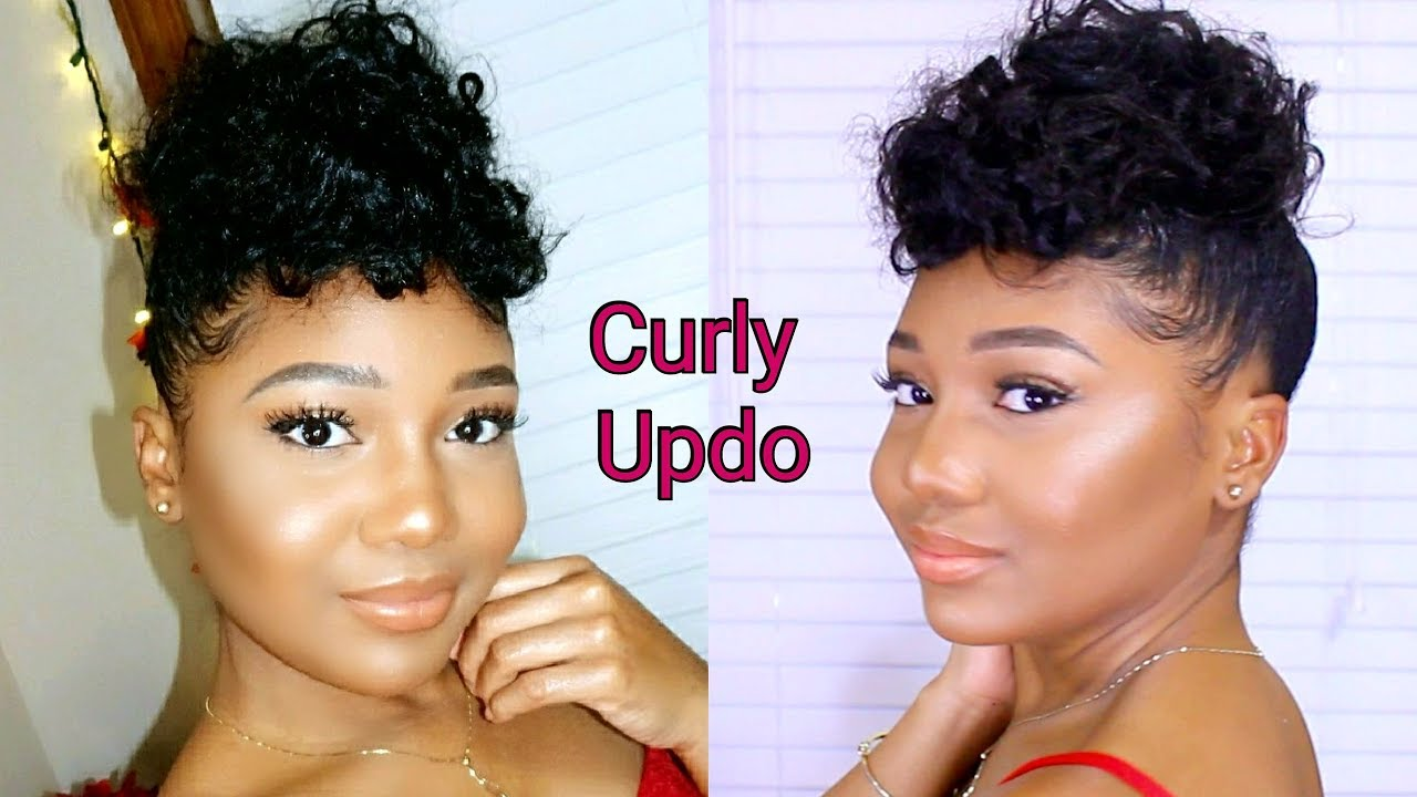 lazy girl curly puff updo relaxed