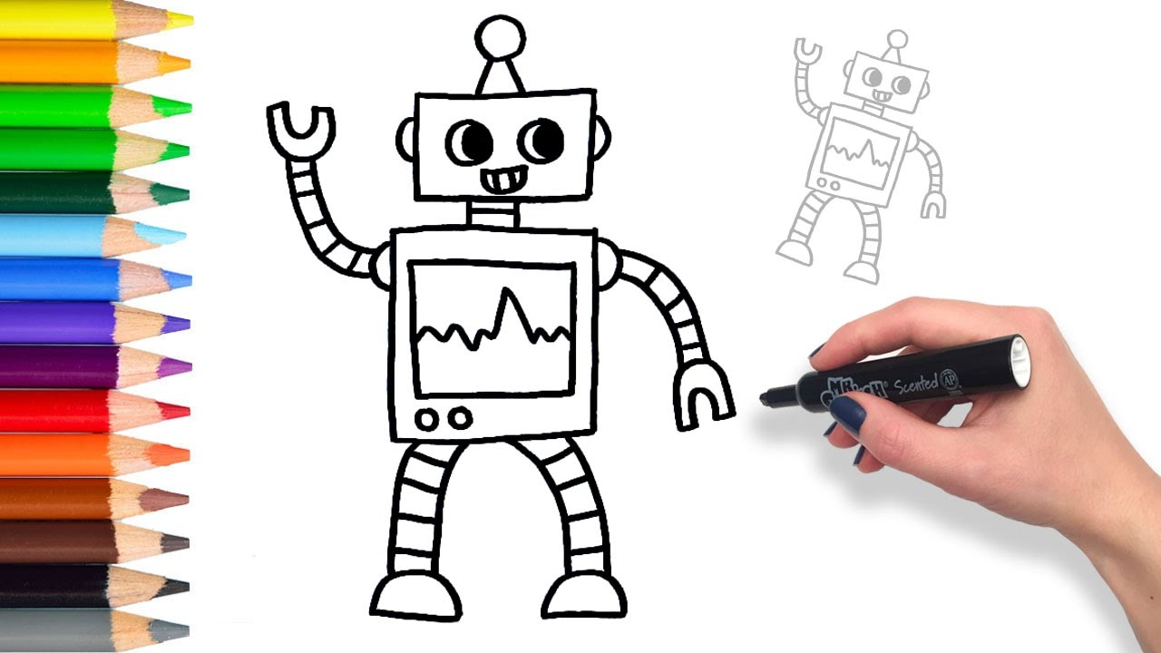 Learn How To Draw A Friendly Robot Teach Drawing Coloring Page