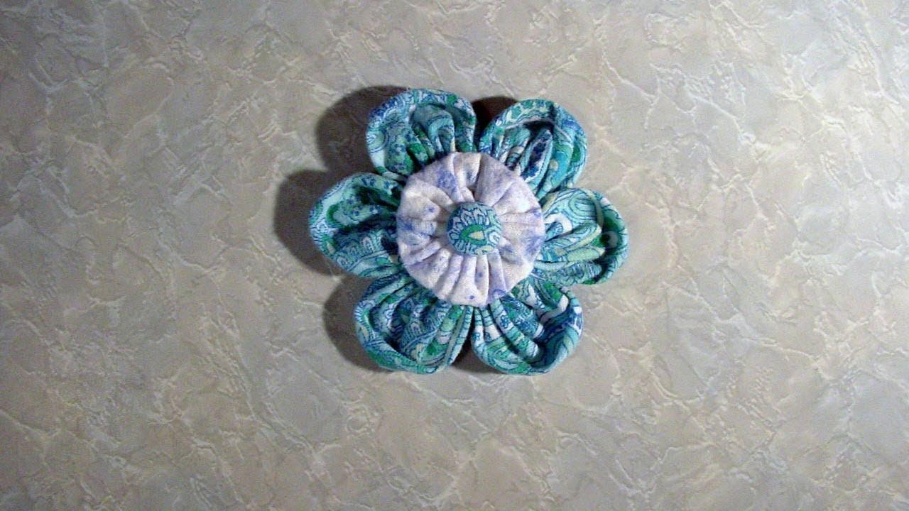 Fabric Yo Yo Flowers Suffolk Puff Flowers Youtube